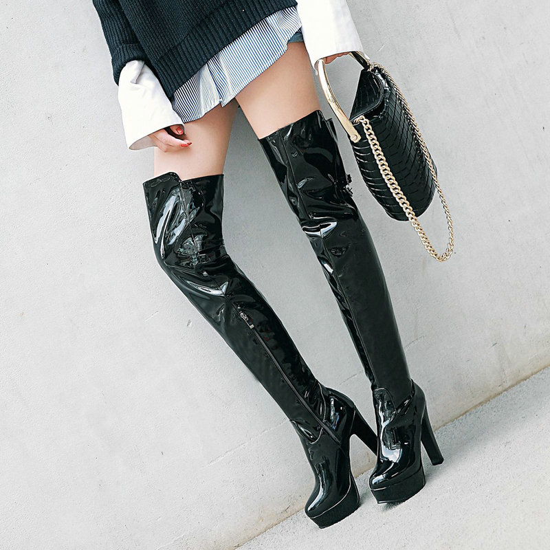 Women Sexy Nightclub Patent Leather Over the Knee Boots Fashion Platform Square Heel Thigh Boots Winter Plush Warm Shoes Black специальная отбеливающая зубная паста черное дерево 75 мл splat special