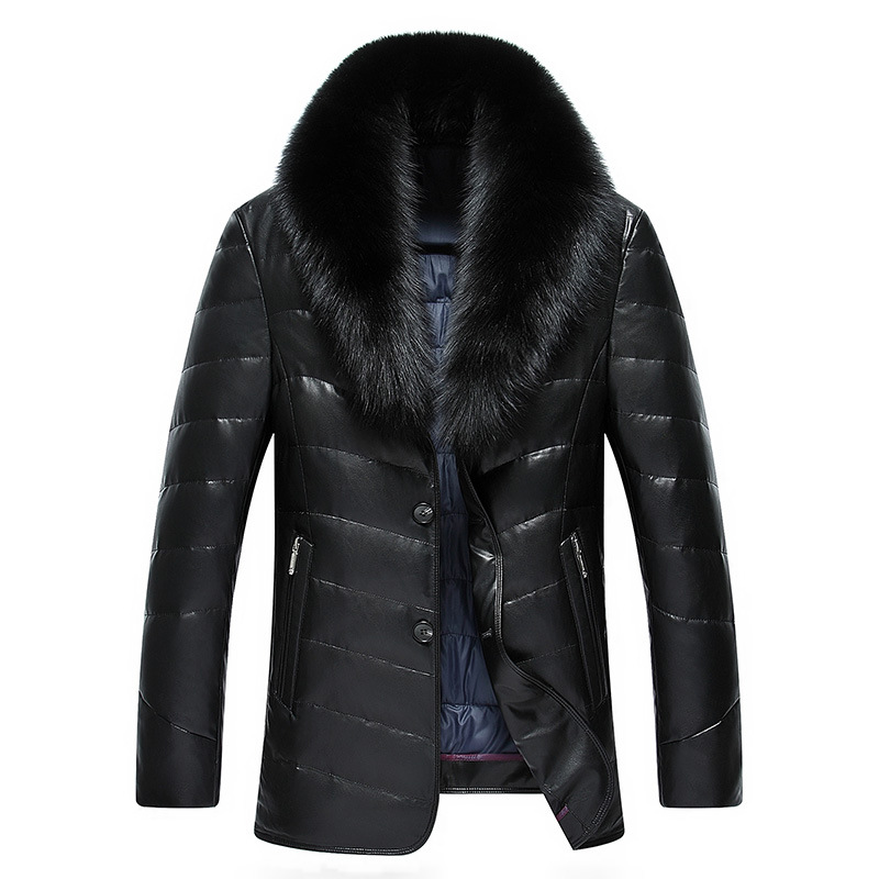 Winter New Large Real Fox Fur Collar Leather Down Jacket Men Simulation Leather Mid-Length Thick PU Leather Warm Parkas MZ1883