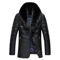 Winter New Large Real Fox Fur Collar Leather Down Jacket Men Simulation Leather Mid Length Thick PU Leather Warm Parkas MZ1883
