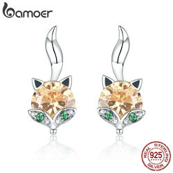 BAMOER 925 Sterling Silver Cute Crystal Fox Stud Earrings for Women Animal fox Fashion Earrings Sterling Silver Jewelry SCE527