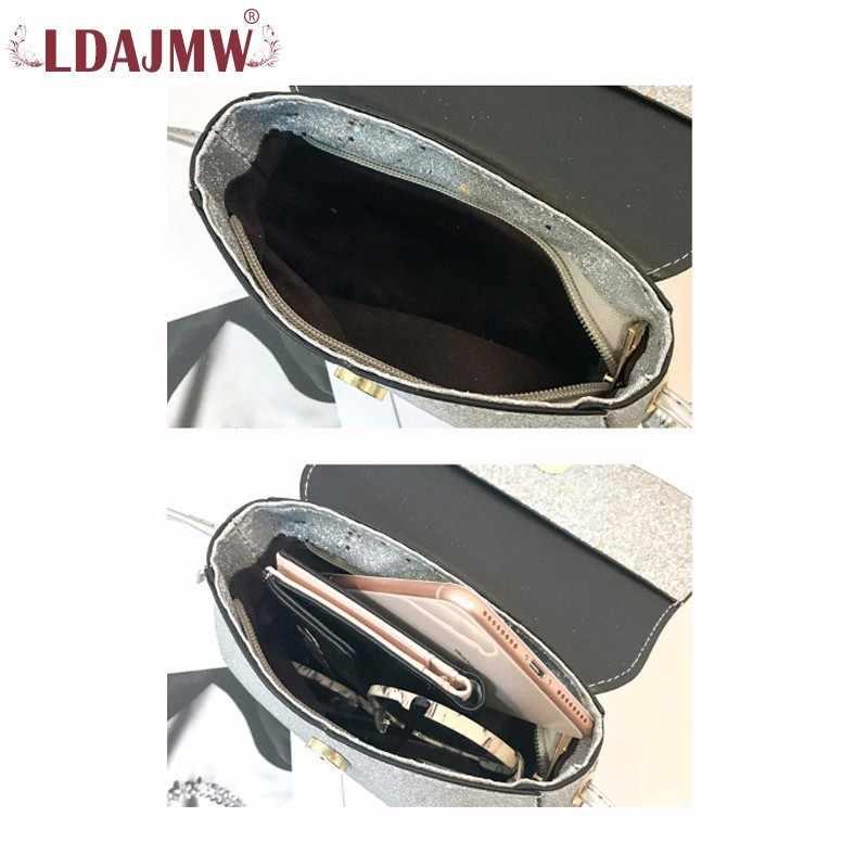 Ldajmw Новый искусственная кожа Для женщин Курьерские сумки моды оленей, кулон плечо посылка блестками Декор палевый сумка