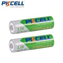 PKCELL Bateria Recarregavel AA NiMH منخفضة التفريغ الذاتي دائم 1.2 فولت 2200mAh ni mh بطاريات بطارية قابلة للشحن 2A Bateria