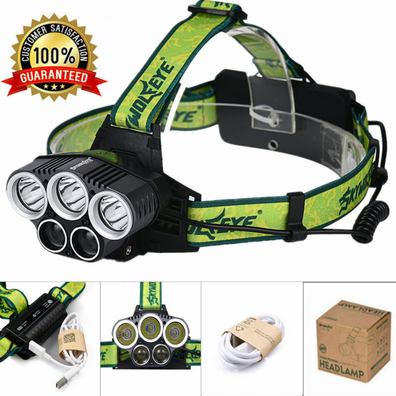 New Headlamp 3 T6 + 2 LED 10000Lm USB Rechargeable 5 Modes LED Headlight Hunting Camping Hiking Head Torch Light + Usb Cable high quality 2 mode power 5w led headlight 48000lx outdoor fishing headlamp rechargeable hunting cap light