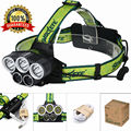 New Headlamp 3 T6 + 2 LED 10000Lm USB Rechargeable 5 Modes LED Headlight Hunting Camping Hiking Head Torch Light + Usb Cable