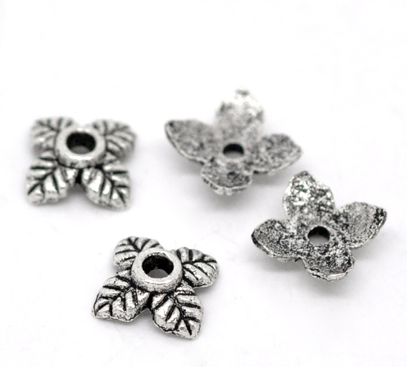 DoreenBeads 70PCs Ornate 4Petal Leaves Beads End Caps 6*6mm