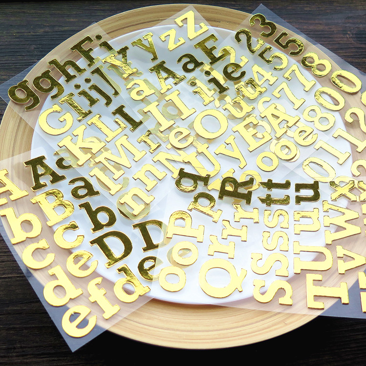 Golden Capital Letters Die Cut Self-adhesive Stickers for Scrapbooking/Card Making/Journaling Project DIY ...