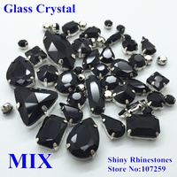 Mix Sizes Mix Shapes Black Jet Color Sew On Glass Crystal Shiny Rhinestones With Claw Setting