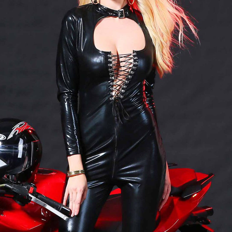 Buy Catwomen Faux Leather Latex Zentai Catsuit Smooth Wetlook Jumpsuit Front Bandage Adjustable Elastic PU Full Bodysuit Playsuit