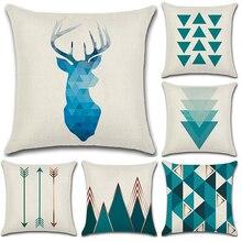 Nordic современный простая подушка крышка синий хлопок белье письмо наволочка для мягкой подушки диван-кровать броска декоративные домашние наволочки