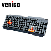 VENICO High Quality Multimedia Gaming Keyboard Gamer USB Wired Game Keyboard for Computer Mac PC