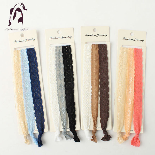 2017 New Long Elastic Hair Accessories Headband Women Colors Mix Hairbands Lace Jewelry Head Ties