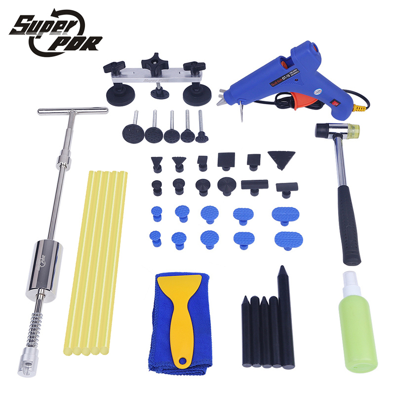 PDR car dent removal tool kit Paintless dent repair tools set dent lifter glue gun pulling bridge tap rubber hammer hand tools whdz 64pcs pdr tool dent lifter paintless dent hail removal repair tools glue pdr tool kit pdr pro tabs tap down line board