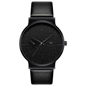 SHAARMS Fashion Men Minimalism Watch Luxury Brand Leather Band Stainless Steel Quartz Wristwatch Male Men Business Watches Black