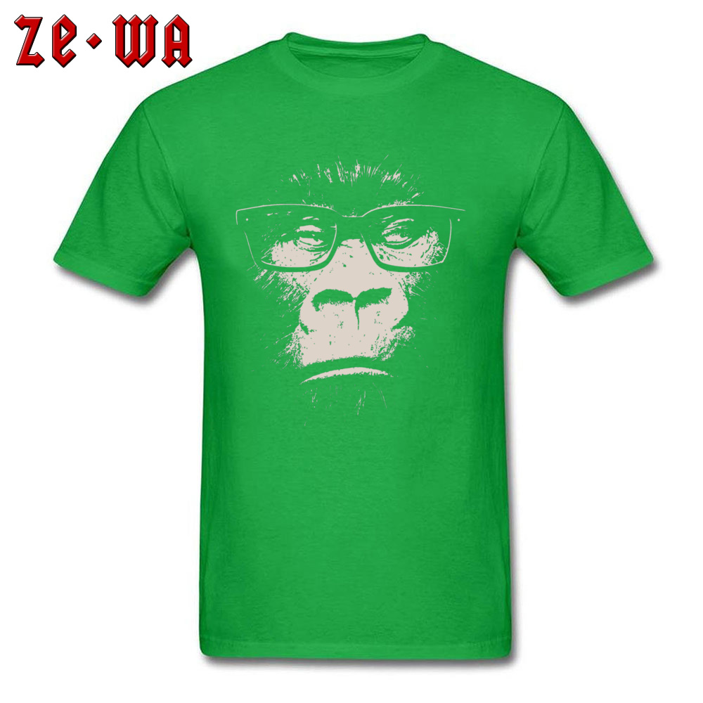 Hipster Gorilla With Glasses 18635 100% Cotton Tees for Men Street T Shirts Fashionable Rife Crew Neck Tees Short Sleeve Hipster Gorilla With Glasses 18635 green