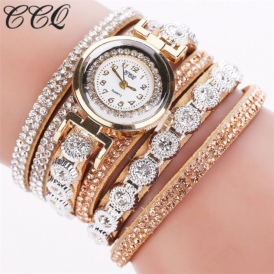 все цены на CCQ Brand Women Rhinestone Bracelet Watches Ladies Quartz Watch Fashion Casual Women Dress Wristwatch Relogio Feminino