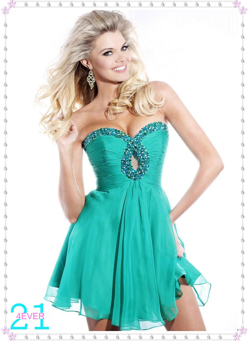 Sparkly A line Sweetheart Keyhole Beaded Short Party Prom Dress ...