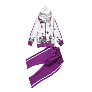 Image 5 - חדש אביב סתיו בנות בגדים פעילים מעיל פרחוני ספורט נים + מכנסיים 2Pcs סטי חליפת ילדי בנות 4 14y בגדים סטים