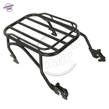Black Motorcycle Detachable Solo Luggage Mounting Rack Case for Harley Road King Custom FLHR 1997-2008