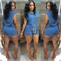 2017 New Women Summer Sexy Fashion Romper Suit Slim Hollow Blue Sleeveless Elastic Waist Slim Bodycon Short Jumpsuits