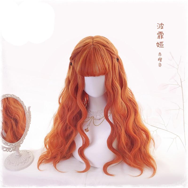 70cm Orange Wavy Long Synthetic Hair Lolita Women's Cosplay Costume Wigs Heat Resistance Harajuku Wigs + Wig Cap Meticulous Dyeing Processes