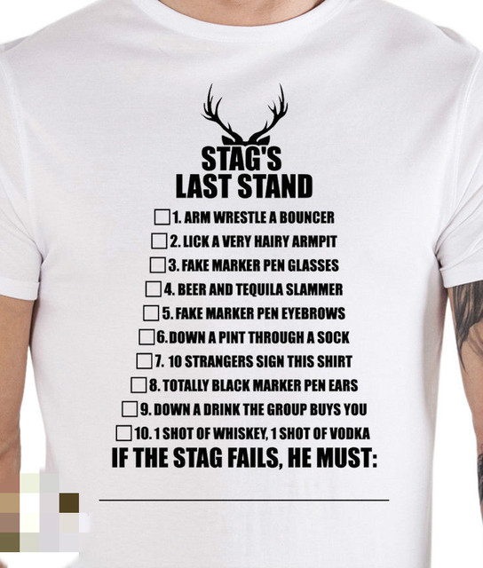 d0d9cf08 Stag Do Prank Dare T Shirts Bachelor Party Prop Costume Outfit Holiday Joke  Men T-Shirt Men Clothing Plus Size top tee