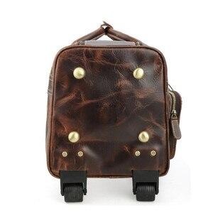 Image 4 - DU LỊCH TÍCH nam da thật chính hãng da cán hành lý xe đẩy bánh xe du lịch trolly túi đi du lịch