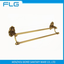 Free Shipping FLG100216 Towel Bar Wall Mounted Antique Brass Art Curving Base Dual Bar Towel Bar,Bathroom Hardware Accessories