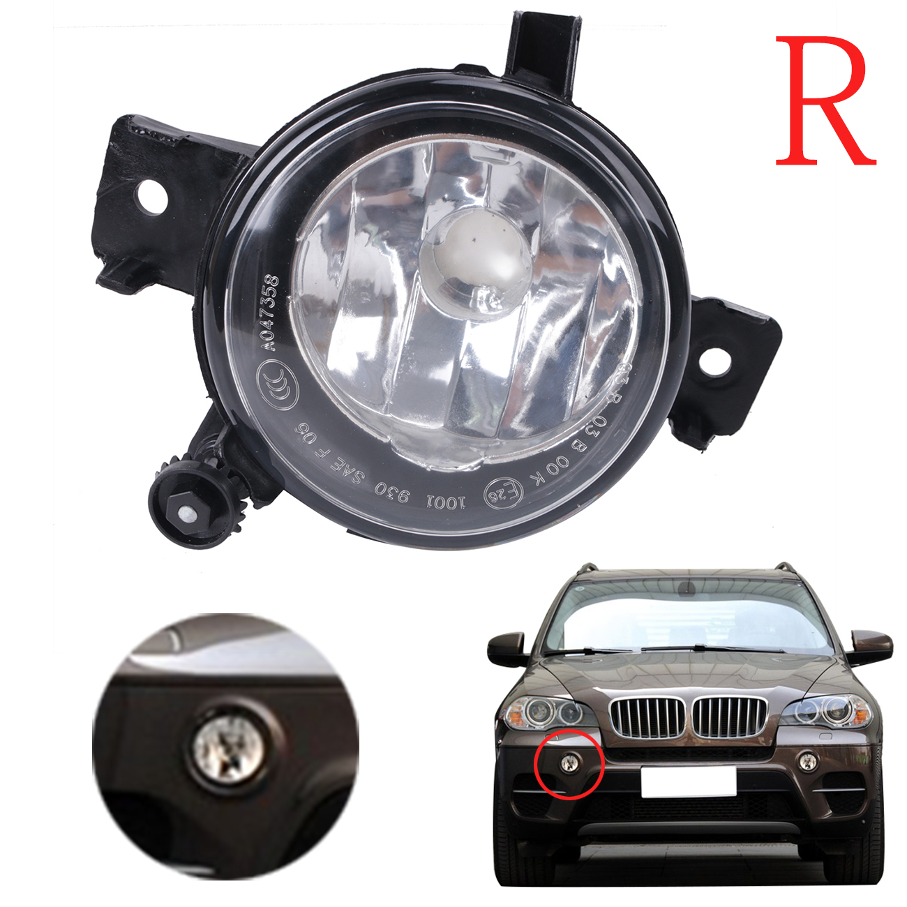 Car-Styling Right Bumper Fog Light Clear Driving Lamp Foglamp Housing 63177224644 For BMW X5 E70 2011 2012 2013 #W086-R for vw 2010 2011 2012 tiguan clear lens bumper fog driving light fog lamp right side 5nd 941 700