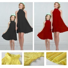 Chiffon Family Set Mother/Mom and Daughter Dress Look Mommy Me Clothes Matching Outfit Clothing YN