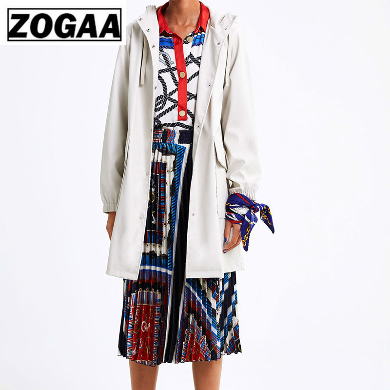 ZOGAA 2019 Spring New Raincoat Coat Hooded Waterproof coat Solid Simple Trench Women 4 Colors