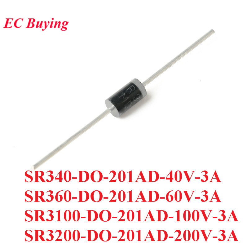 10PCS SR340 SR360 SR3100 <font><b>SR3200</b></font> DO-201AD Schottky Rectifier Diode Rectifier Silicon Bridge Rectifier 40V 60V 100V 200V 3A image