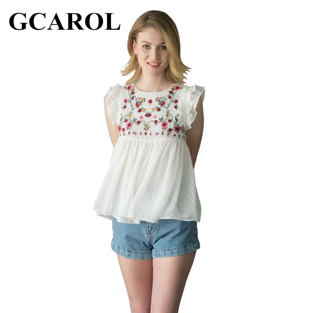 GCAROL 2017 Women Embroidery Floral Blouse Royan Spliced Sleeveless Floral  Tops High Quality Causal Baby Doll - Compare Prices On Baby Doll Blouse- Online Shopping/Buy Low Price