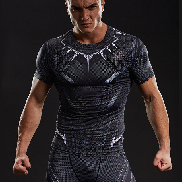 d8232ec66aea7 Black Panther 3D Printed T-shirts Men Compression Shirt Captain America  Short Sleeve Cosplay Halloween Costume For Men Tops Male