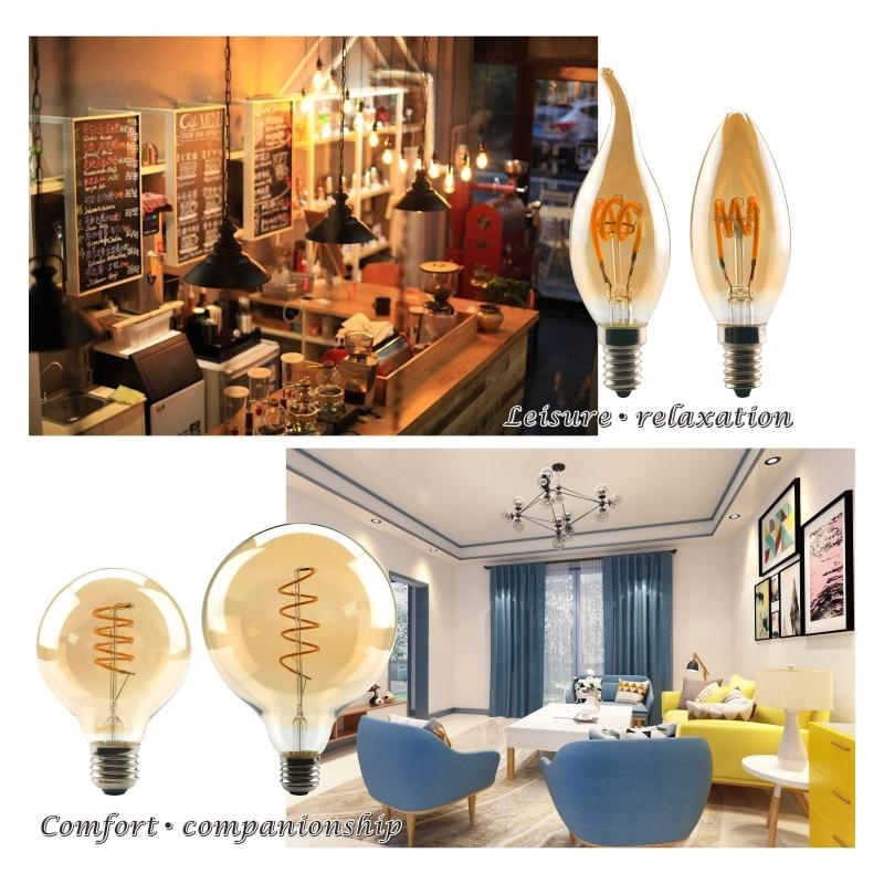 Купить с кэшбэком LATTUSO T45 ST64 G80 G95 G125 Spiral Light LED Filament Bulb 4W E27 Retro Vintage Lamps Decorative Lighting Dimmable Edison Lamp