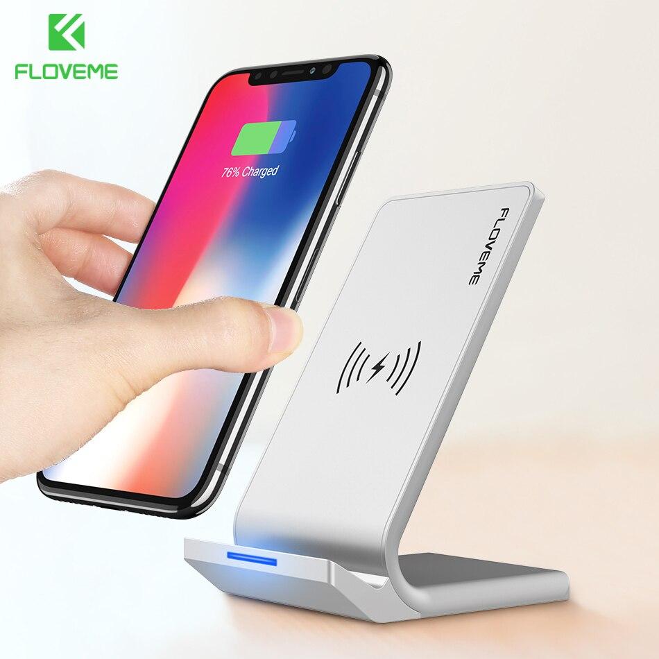 FLOVEME Universal Qi rápido cargador inalámbrico para el iPhone X 10 8 más cargador USB 10 W carga de energía para Samsung galaxy S8 S9 Nota 8