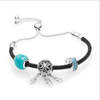 2018 New 100% 925 Sterling Silver Black Leather Bracelet Gift Set For women Bracelet Spiritual Dreamcatcher Charm DIY jewelry