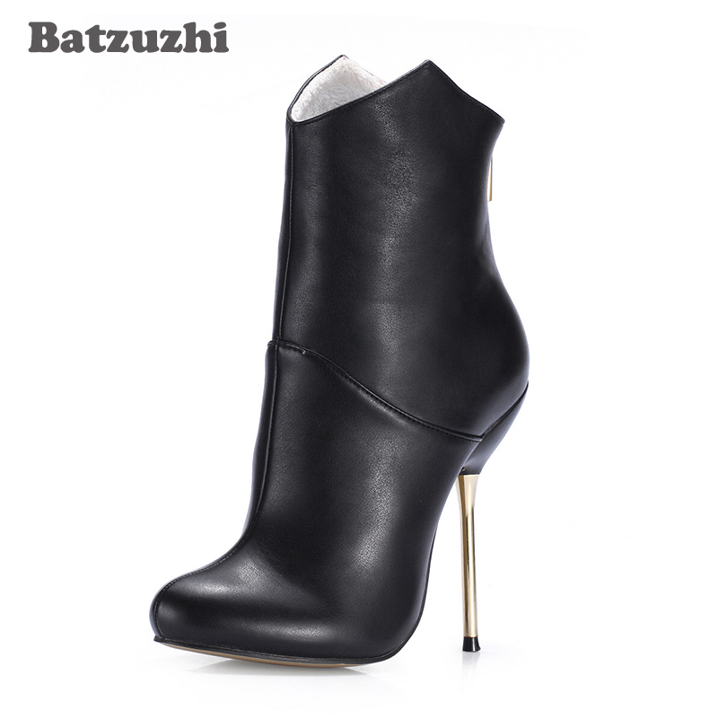 Batzuzhi-12.4cm Sexy Iron Thin Heels Women Ankle Boots Black Leather Short Boots for Women Winter Autumn Boots Party, Size 35-43 кольцо из серебра valtera 93861