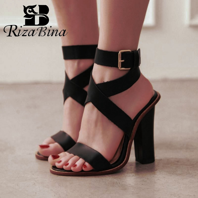 RIZABINA Gladiator Sandals Women Pu Leather Buckle Square High Heels Shoes Classic Office Ladies Party Shoes Women Size 34-43RIZABINA Gladiator Sandals Women Pu Leather Buckle Square High Heels Shoes Classic Office Ladies Party Shoes Women Size 34-43
