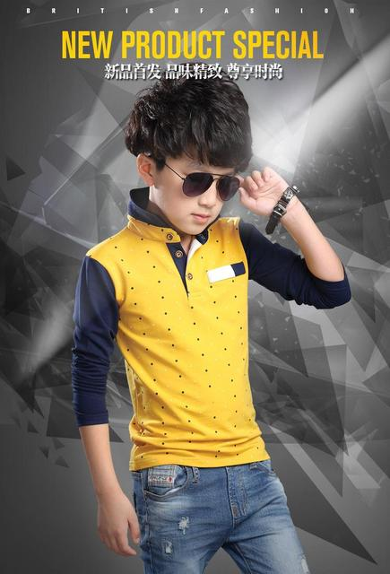 T-Shirt For Boys Autumn Cotton Casual Children Clothing Cute Polka Dot Big Kids Clothes For Boys Full Sleeve Baby Boy