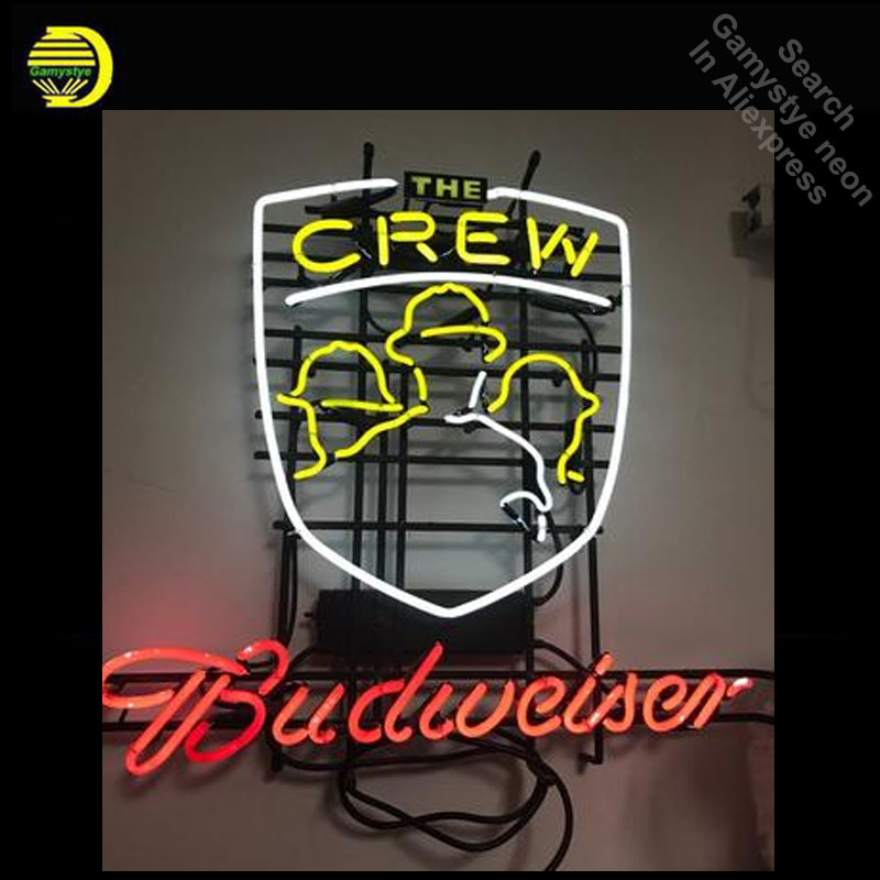 Budweise Columbus Crew neon Signs Glass Tube Neon Bulbs Sign neon lights Recreation Wall Windows Iconic Sign Neon Light LAmps