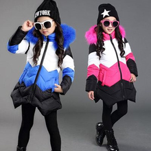 2019 New Blue Children Winter Jacket Girl Winter Coat Kids Warm Thick Fur Detachable Collar Hooded Cotton-Down Coats For Teenage недорого