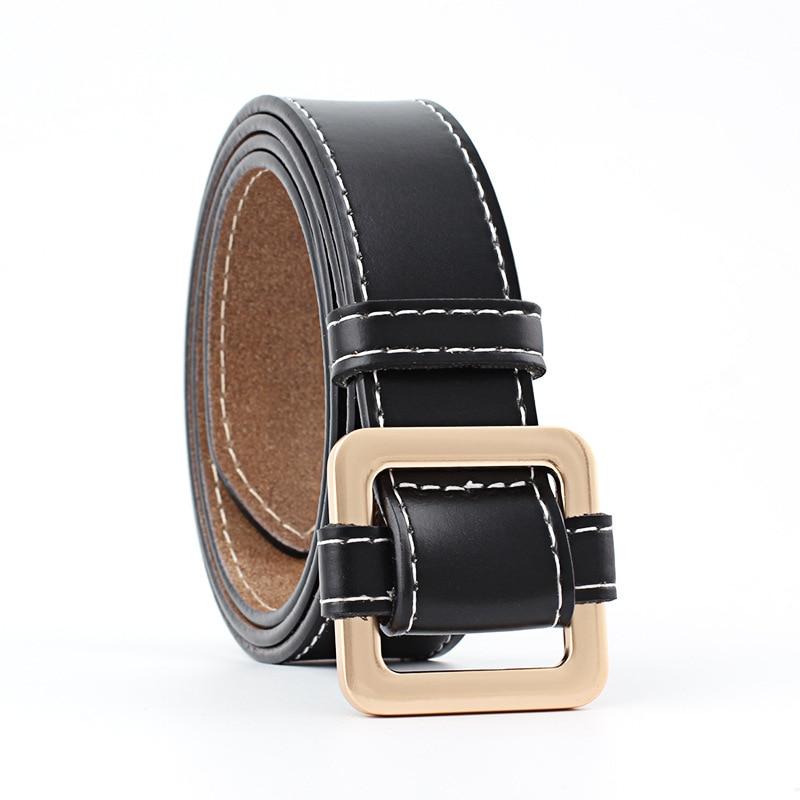 Badinka 2018 New Designer Wide Black Red Pink White Genuine Leather Belt Waist Female Gold Buckle Belts for Women Jeans Dress