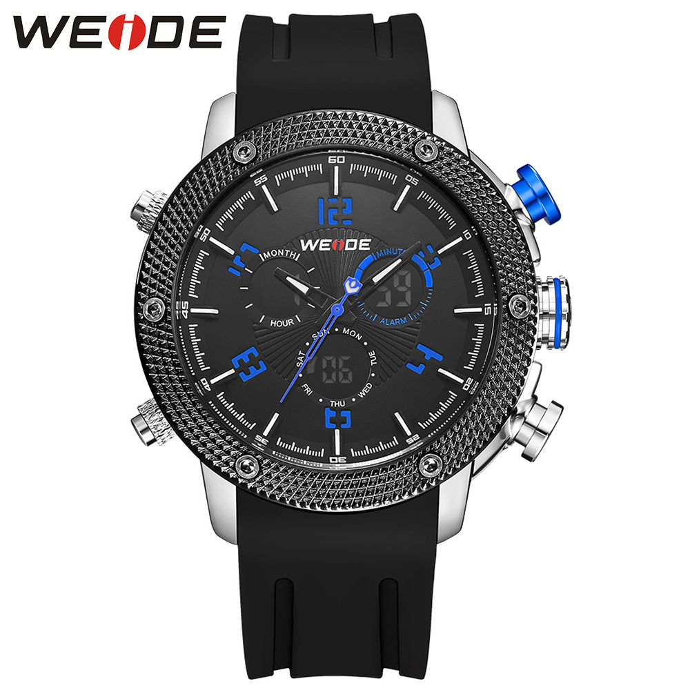 WEIDE Men LCD Display Watches Repeater Chronograph Analog Digital Silicone Strap Military Clock Sports Quartz Stopwatch  Watch weide new men quartz casual watch army military sports watch waterproof back light men watches alarm clock multiple time zone