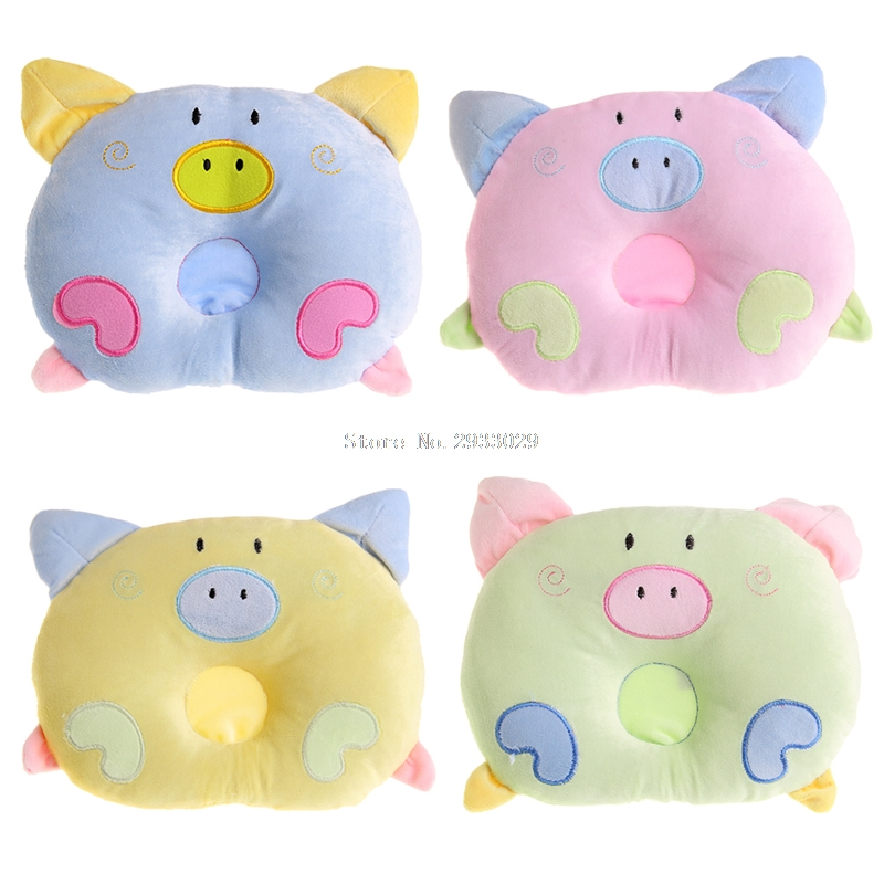 Baby Anti roll Pillow Flat Head Sleeping Lovely Pig Design Shaping Pillow B116