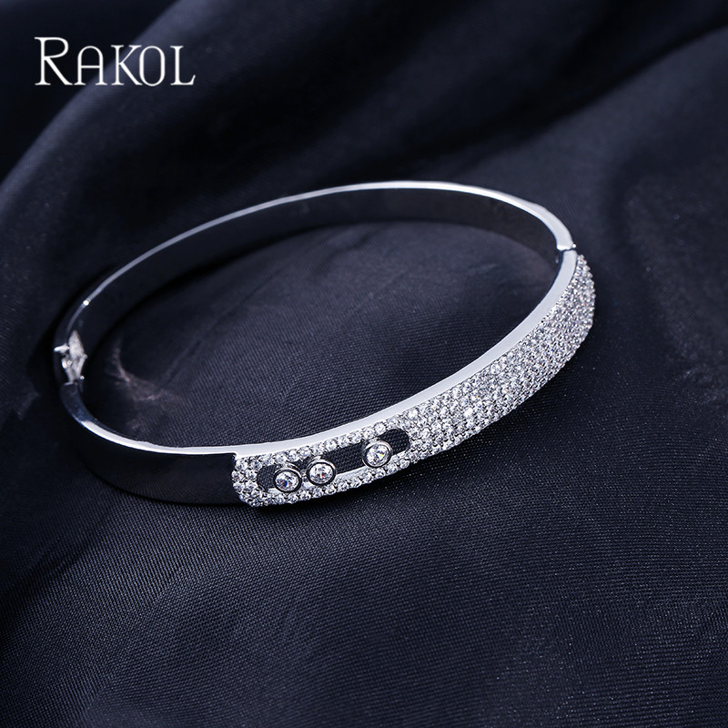 RAKOL Luxury Cubic Zirconia Crystal Micro Pave Charm Bracelets Bangles For Women Rose Gold Color Party Jewelry Gift in Bangles from Jewelry Accessories