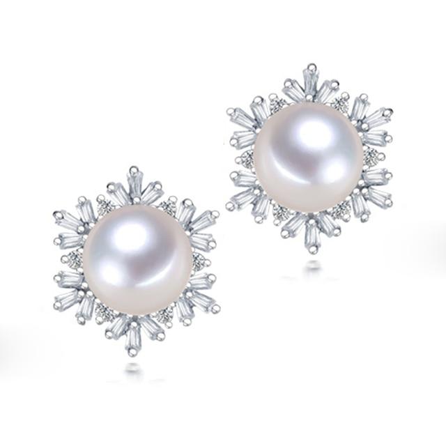 2016 New Fashion 100%Real Freshwater Pearl Stud Earrings 925 Sterling Silver/Zircon Jewelry 11-12 Big Pearl For Women Best Gifts