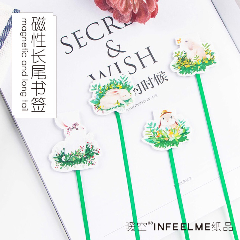 Creative Green Grass Rabbit Ribbon Magnetic Bookmarks Books Marker Of Page Stationery School Office Supply Paper Clip