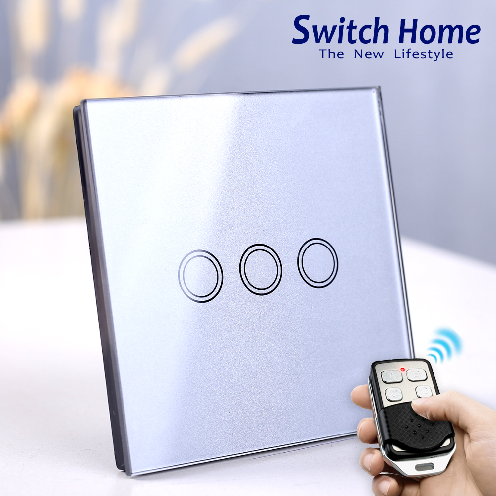 3 Gang Touch Wall Light Switch, Wireless Remote Control Touch Light Switch, EU/UK Standard 130V~240V Dampproof glass switch3 Gang Touch Wall Light Switch, Wireless Remote Control Touch Light Switch, EU/UK Standard 130V~240V Dampproof glass switch