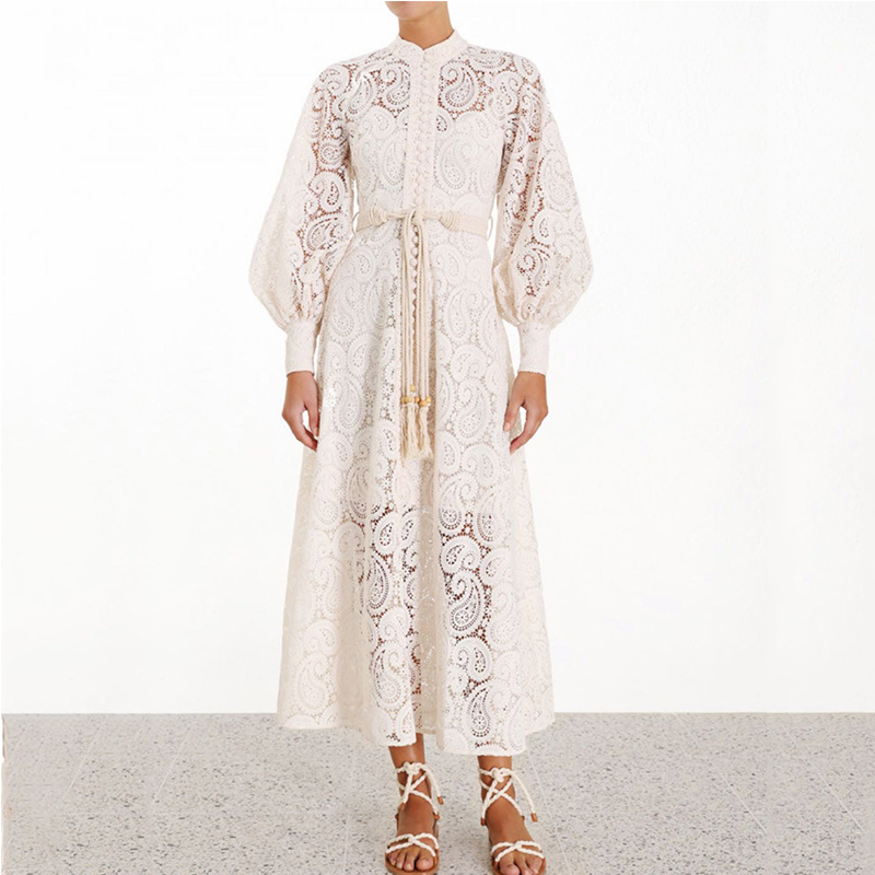 Haut de gamme blanc évider dentelle Floral broderie Mini robe 2019 femmes Vintage lanterne manches plissée robe avec ceinture