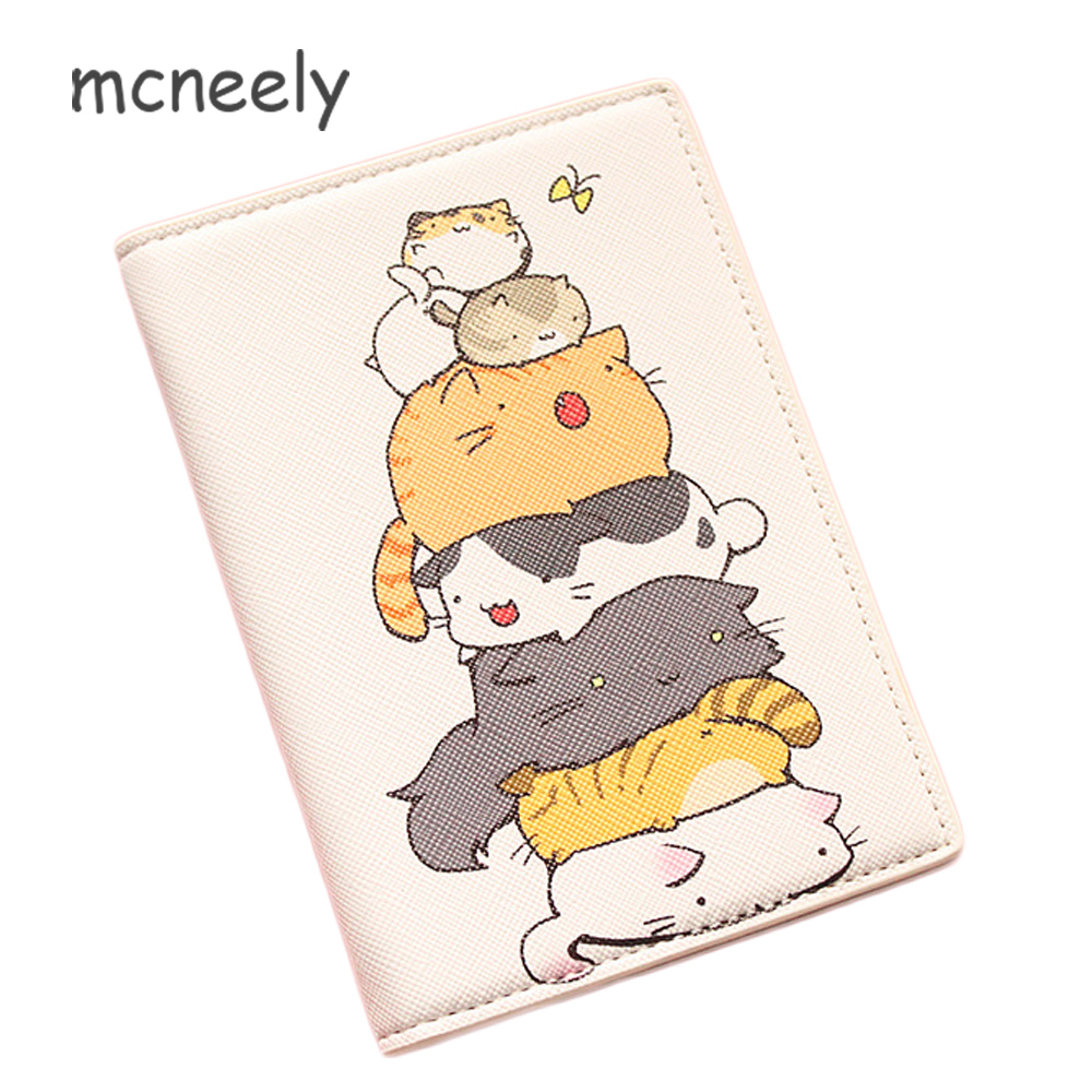 The Cat Imitates The Arhat!! Cartoon Passport Holder ID Card Holders Passport Cover Cute Kids Leather Bank Credit Card Holder
